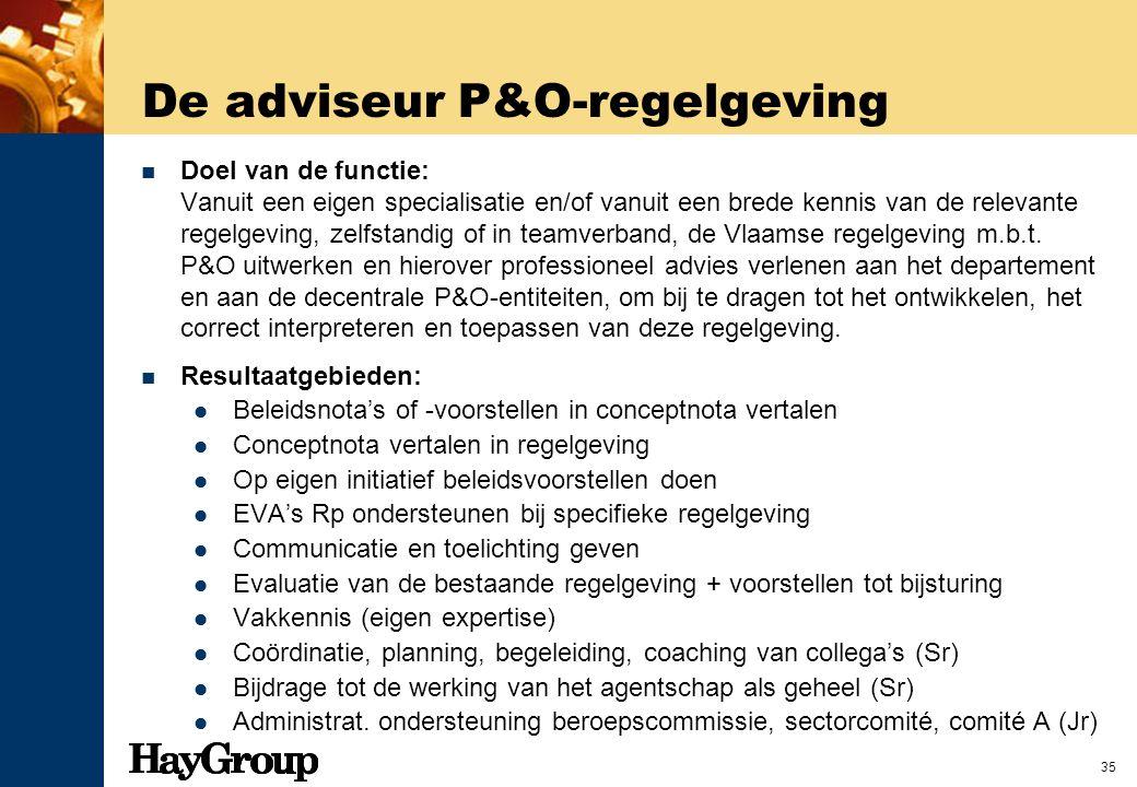 35 De adviseur P&O-regelgeving Doel van de functie: Vanuit een eigen specialisatie en/of vanuit een brede kennis van de relevante regelgeving, zelfsta