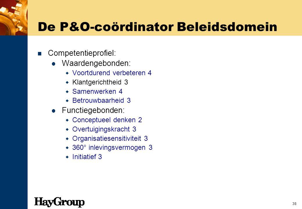 38 De P&O-coördinator Beleidsdomein Competentieprofiel: Waardengebonden:  Voortdurend verbeteren 4  Klantgerichtheid 3  Samenwerken 4  Betrouwbaar