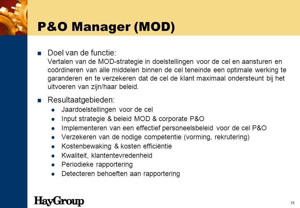 39 P&O Manager (MOD) Doel van de functie: Vertalen van de MOD-strategie in doelstellingen voor de cel en aansturen en coördineren van alle middelen bi