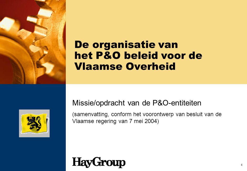 4 De organisatie van het P&O beleid voor de Vlaamse Overheid Missie/opdracht van de P&O-entiteiten (samenvatting, conform het voorontwerp van besluit