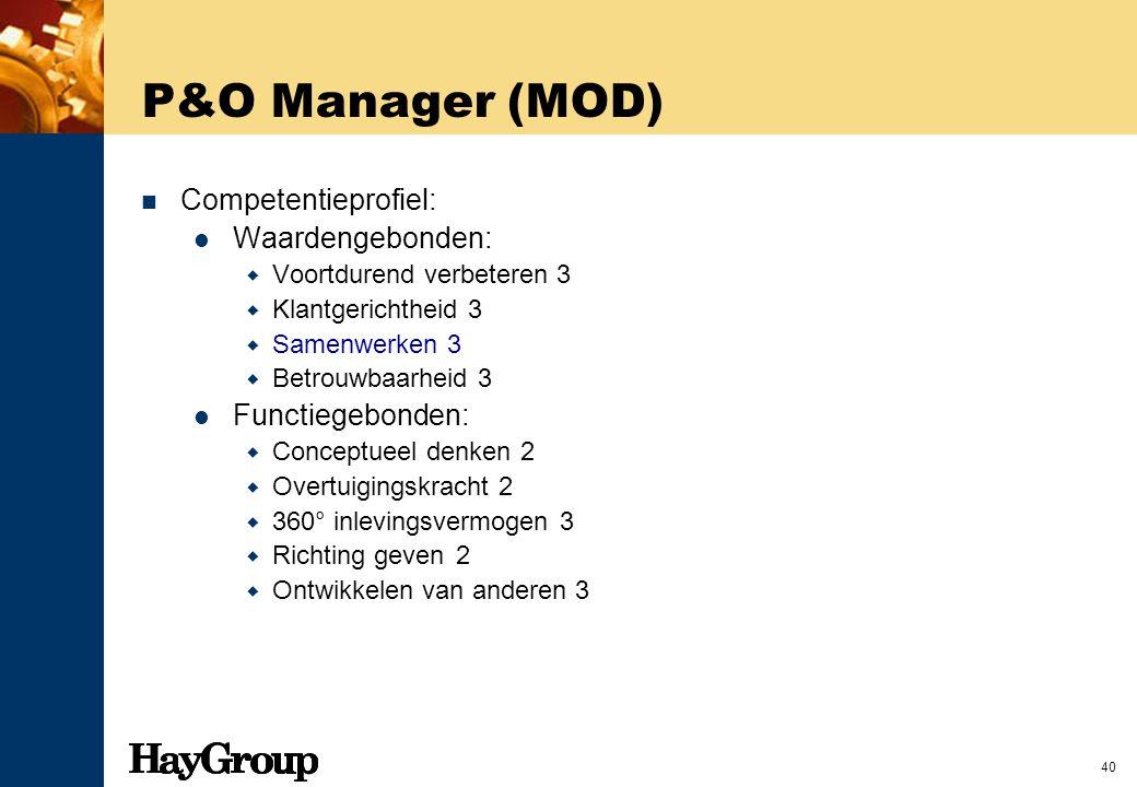 40 P&O Manager (MOD) Competentieprofiel: Waardengebonden:  Voortdurend verbeteren 3  Klantgerichtheid 3  Samenwerken 3  Betrouwbaarheid 3 Functieg