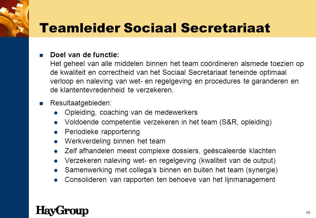 45 Teamleider Sociaal Secretariaat Doel van de functie: Het geheel van alle middelen binnen het team coördineren alsmede toezien op de kwaliteit en co