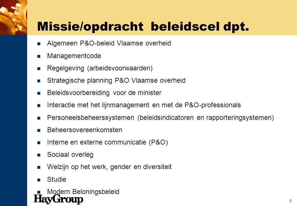 5 Missie/opdracht beleidscel dpt. Algemeen P&O-beleid Vlaamse overheid Managementcode Regelgeving (arbeidsvoorwaarden) Strategische planning P&O Vlaam