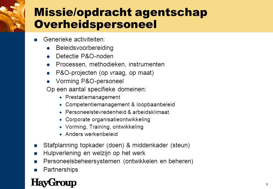 6 Missie/opdracht agentschap Overheidspersoneel Generieke activiteiten: Beleidsvoorbereiding Detectie P&O-noden Processen, methodieken, instrumenten P