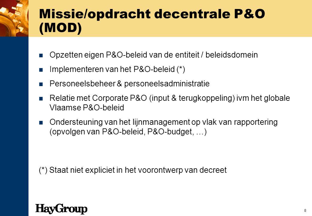 8 Missie/opdracht decentrale P&O (MOD) Opzetten eigen P&O-beleid van de entiteit / beleidsdomein Implementeren van het P&O-beleid (*) Personeelsbeheer