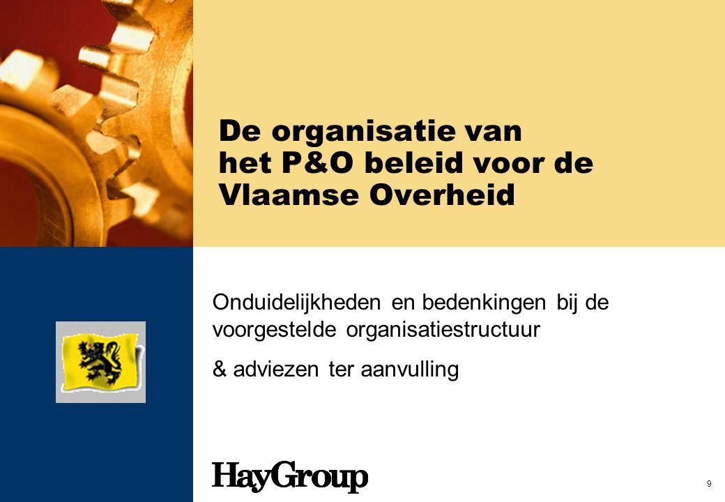 9 De organisatie van het P&O beleid voor de Vlaamse Overheid Onduidelijkheden en bedenkingen bij de voorgestelde organisatiestructuur & adviezen ter a