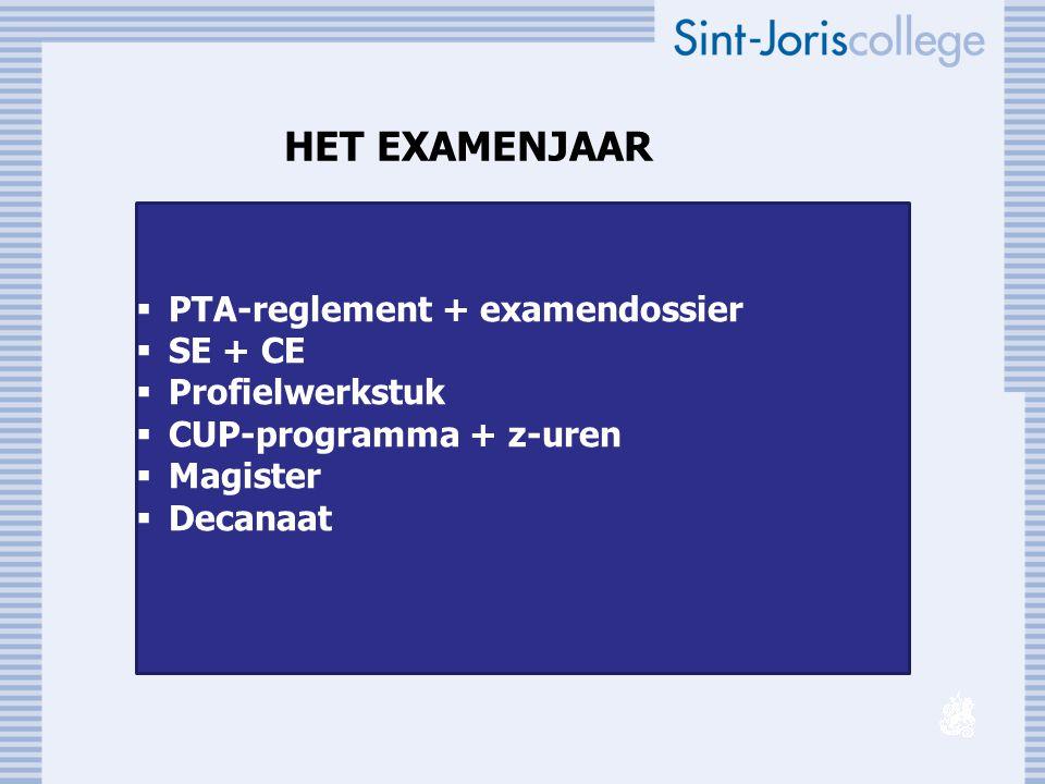 HET EXAMENJAAR  PTA-reglement + examendossier  SE + CE  Profielwerkstuk  CUP-programma + z-uren  Magister  Decanaat