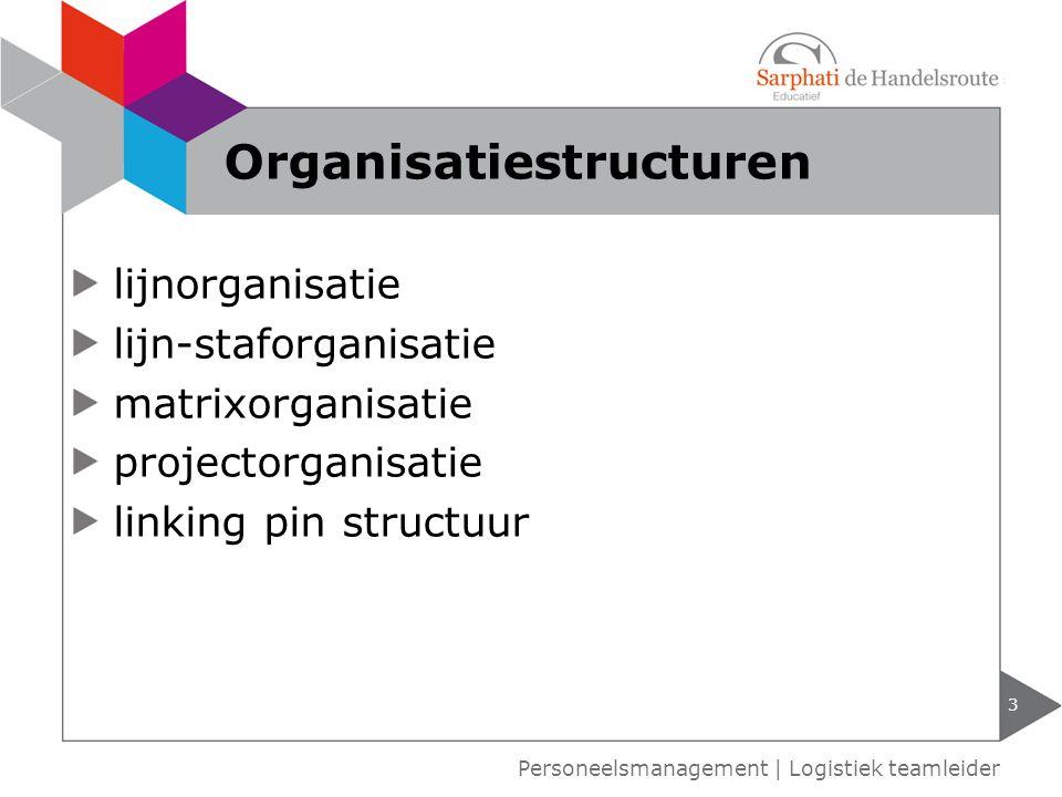 lijnorganisatie lijn-staforganisatie matrixorganisatie projectorganisatie linking pin structuur 3 Personeelsmanagement | Logistiek teamleider Organisatiestructuren