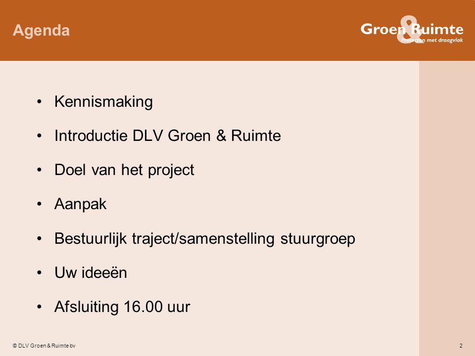 © DLV Groen & Ruimte bv2 Agenda Kennismaking Introductie DLV Groen & Ruimte Doel van het project Aanpak Bestuurlijk traject/samenstelling stuurgroep Uw ideeën Afsluiting 16.00 uur