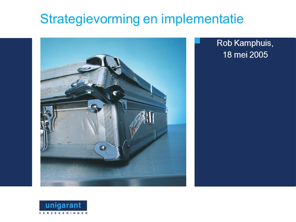 Strategievorming en implementatie Rob Kamphuis, 18 mei 2005