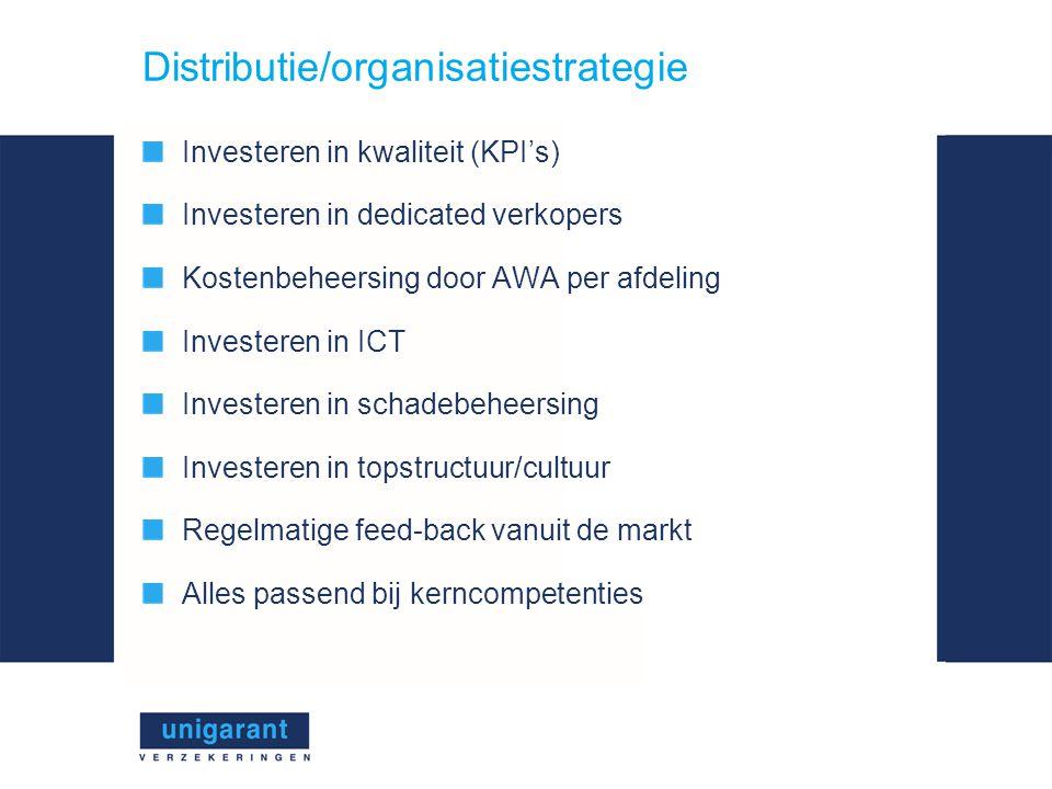Distributie/organisatiestrategie Investeren in kwaliteit (KPI's) Investeren in dedicated verkopers Kostenbeheersing door AWA per afdeling Investeren in ICT Investeren in schadebeheersing Investeren in topstructuur/cultuur Regelmatige feed-back vanuit de markt Alles passend bij kerncompetenties