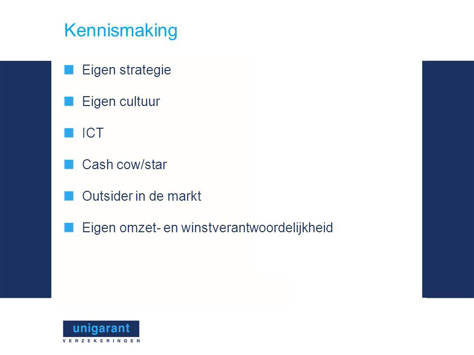 Kennismaking Eigen strategie Eigen cultuur ICT Cash cow/star Outsider in de markt Eigen omzet- en winstverantwoordelijkheid
