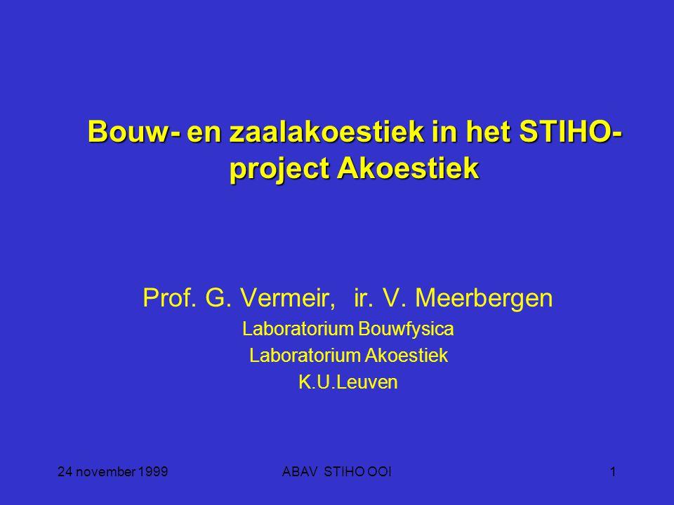 24 november 1999ABAV STIHO OOI1 Bouw- en zaalakoestiek in het STIHO- project Akoestiek Prof.