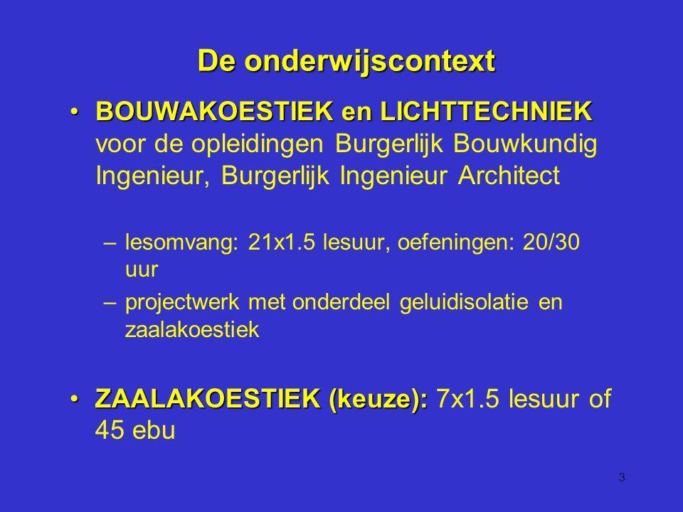 3 De onderwijscontext De onderwijscontext BOUWAKOESTIEK en LICHTTECHNIEKBOUWAKOESTIEK en LICHTTECHNIEK voor de opleidingen Burgerlijk Bouwkundig Ingenieur, Burgerlijk Ingenieur Architect –lesomvang: 21x1.5 lesuur, oefeningen: 20/30 uur –projectwerk met onderdeel geluidisolatie en zaalakoestiek ZAALAKOESTIEK (keuze):ZAALAKOESTIEK (keuze): 7x1.5 lesuur of 45 ebu
