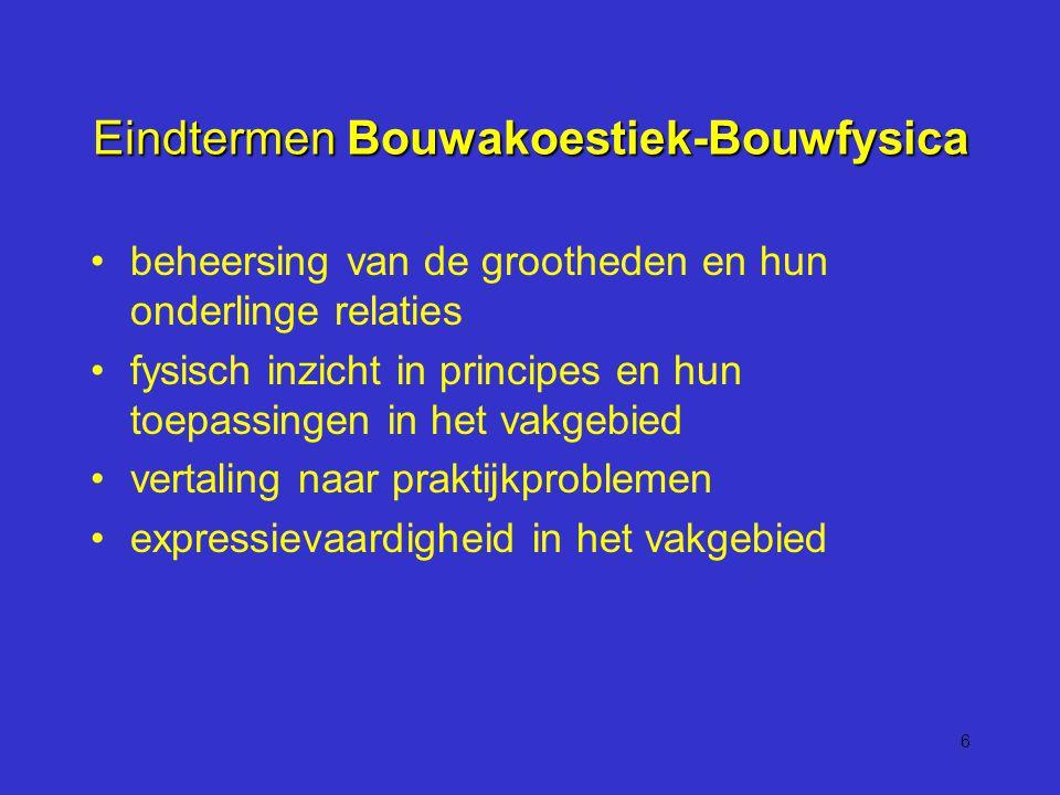 6 Eindtermen Bouwakoestiek-Bouwfysica beheersing van de grootheden en hun onderlinge relaties fysisch inzicht in principes en hun toepassingen in het vakgebied vertaling naar praktijkproblemen expressievaardigheid in het vakgebied