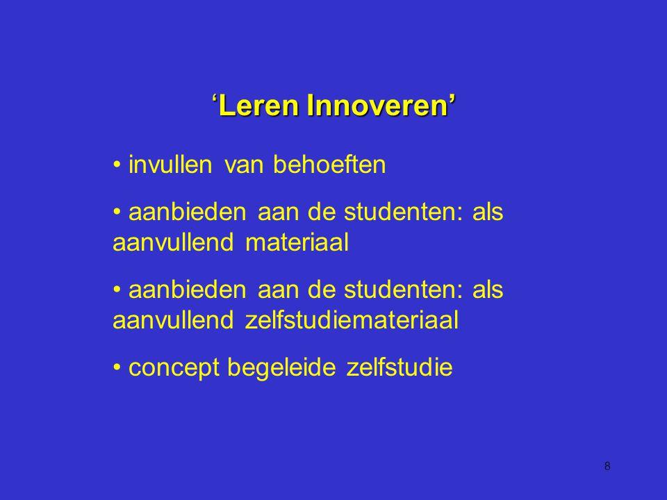 8 'Leren Innoveren' invullen van behoeften aanbieden aan de studenten: als aanvullend materiaal aanbieden aan de studenten: als aanvullend zelfstudiemateriaal concept begeleide zelfstudie