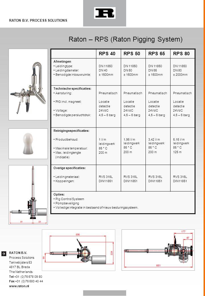 RATON B.V. Process Solutions Takkebijsters 53 4817 BL Breda The Netherlands Tel +31 (0)76 578 09 80 Fax +31 (0)76 593 40 44 www.raton.nl RATON B.V. PR