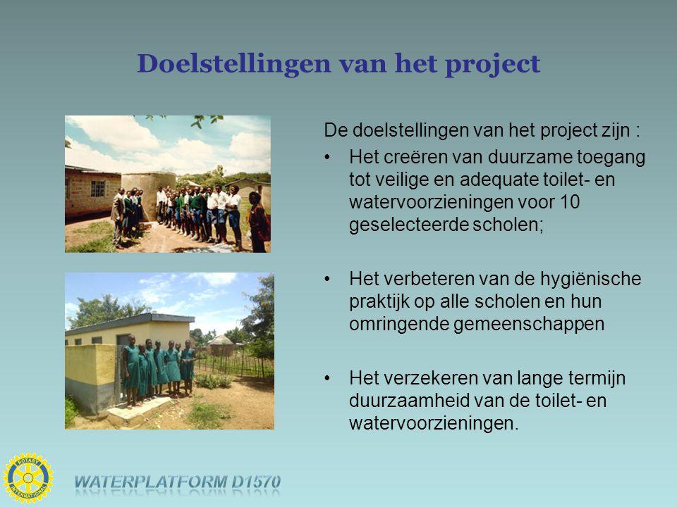 Doelstellingen van het project De doelstellingen van het project zijn : Het creëren van duurzame toegang tot veilige en adequate toilet- en watervoorz
