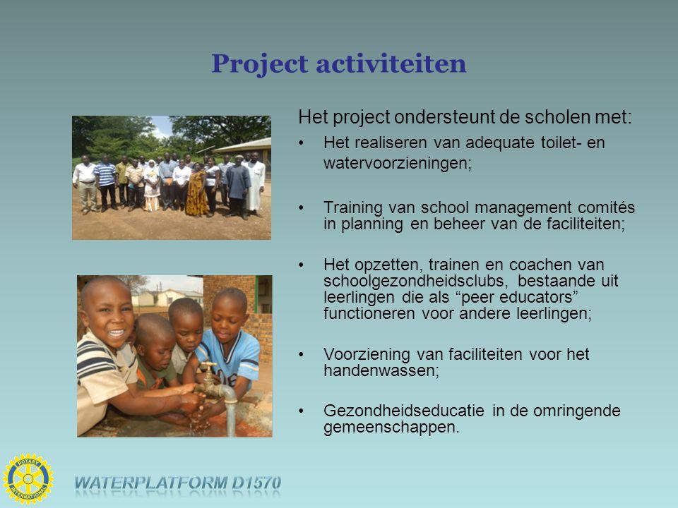 Project activiteiten Het project ondersteunt de scholen met: Het realiseren van adequate toilet- en watervoorzieningen; Training van school management