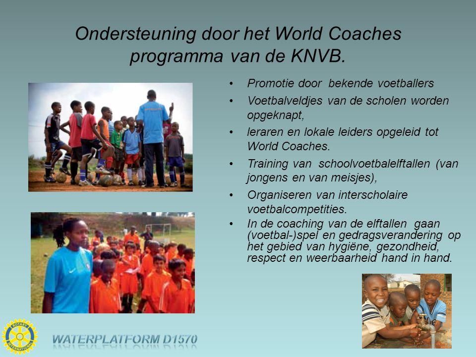 Ondersteuning door het World Coaches programma van de KNVB. Promotie door bekende voetballers Voetbalveldjes van de scholen worden opgeknapt, leraren