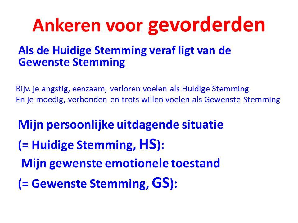 Ankeren voor gevorderden Mijn persoonlijke uitdagende situatie (= Huidige Stemming, HS ): Mijn gewenste emotionele toestand (= Gewenste Stemming, GS ): Als de Huidige Stemming veraf ligt van de Gewenste Stemming Bijv.