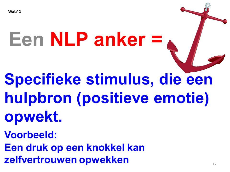 12 Een NLP anker = Wat.1 Specifieke stimulus, die een hulpbron (positieve emotie) opwekt.