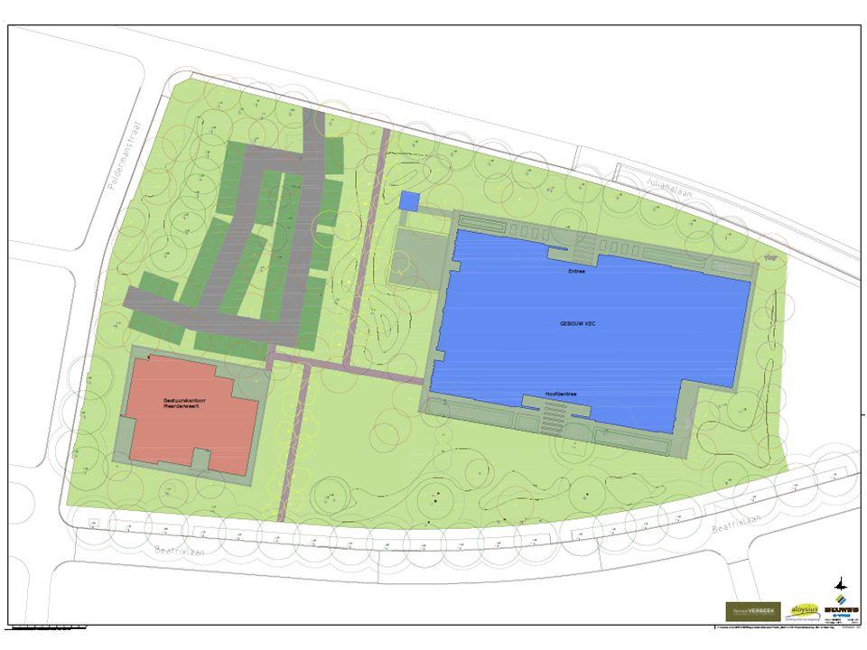 1410 voorlopig ontwerp20-11-2014 KEC WEERT Parkeren: -Medewerkers90 extra parkeerplaatsen -LeerlingenvervoerJulianalaan + voorzijde gebouw -Ouders kiss- en ride op parkeerplaats 6