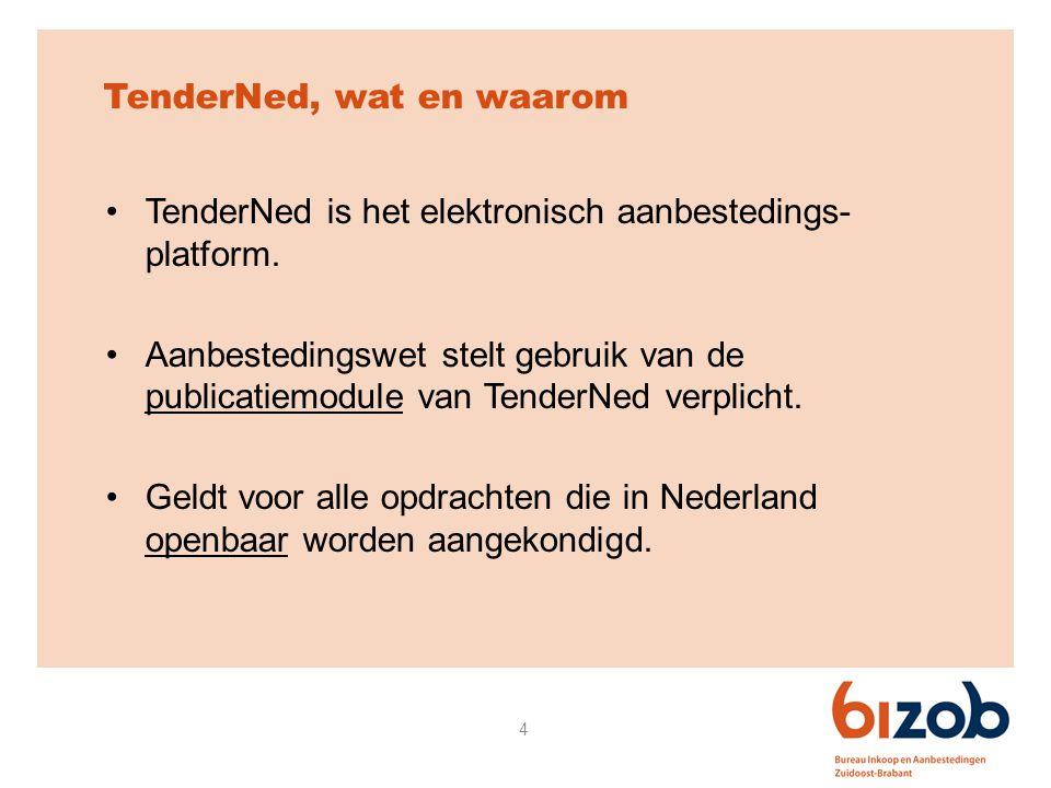 4 TenderNed, wat en waarom TenderNed is het elektronisch aanbestedings- platform. Aanbestedingswet stelt gebruik van de publicatiemodule van TenderNed