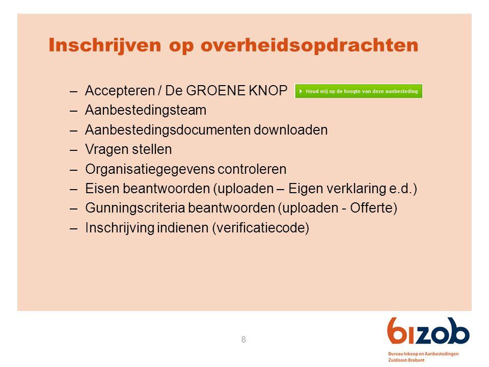 8 Inschrijven op overheidsopdrachten –Accepteren / De GROENE KNOP –Aanbestedingsteam –Aanbestedingsdocumenten downloaden –Vragen stellen –Organisatieg
