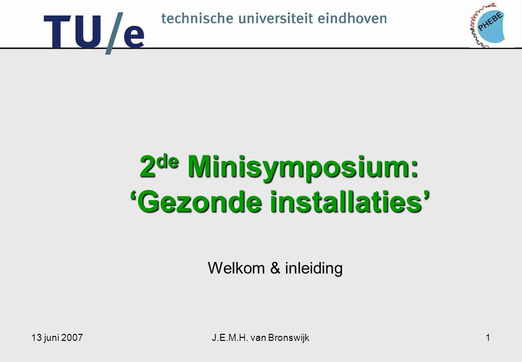 13 juni 2007J.E.M.H. van Bronswijk1 2 de Minisymposium: 'Gezonde installaties' Welkom & inleiding
