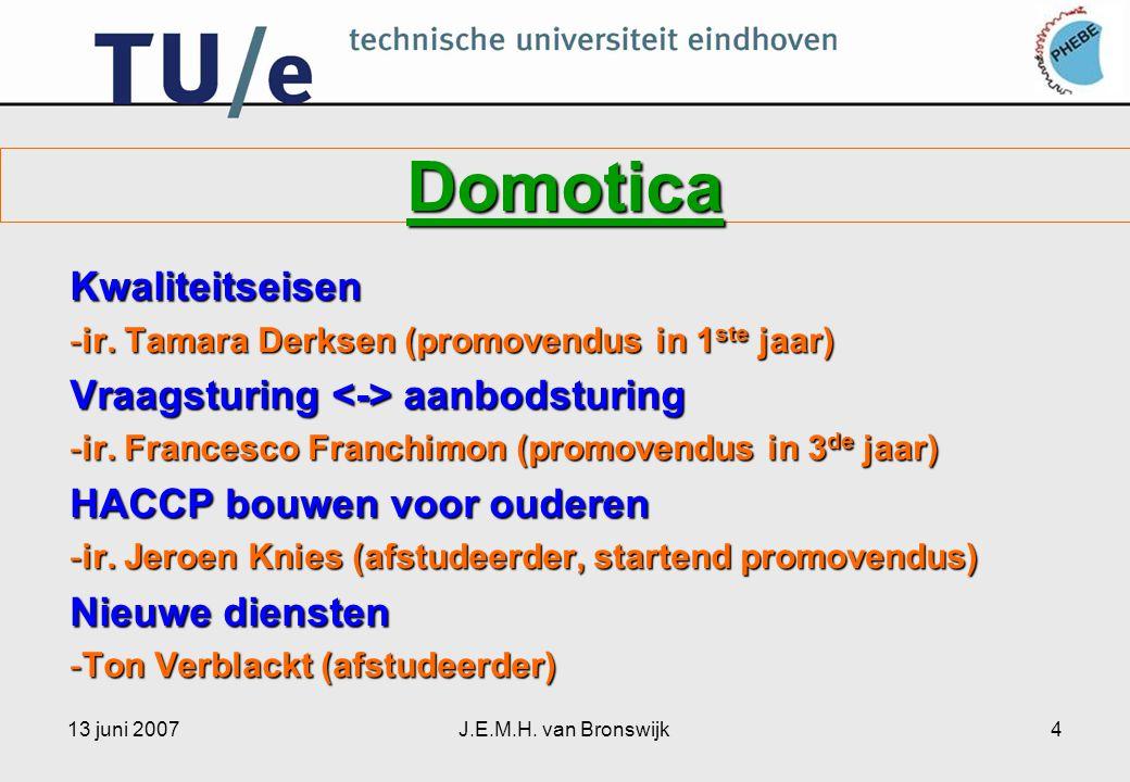 13 juni 2007J.E.M.H. van Bronswijk4 Domotica Kwaliteitseisen -ir.