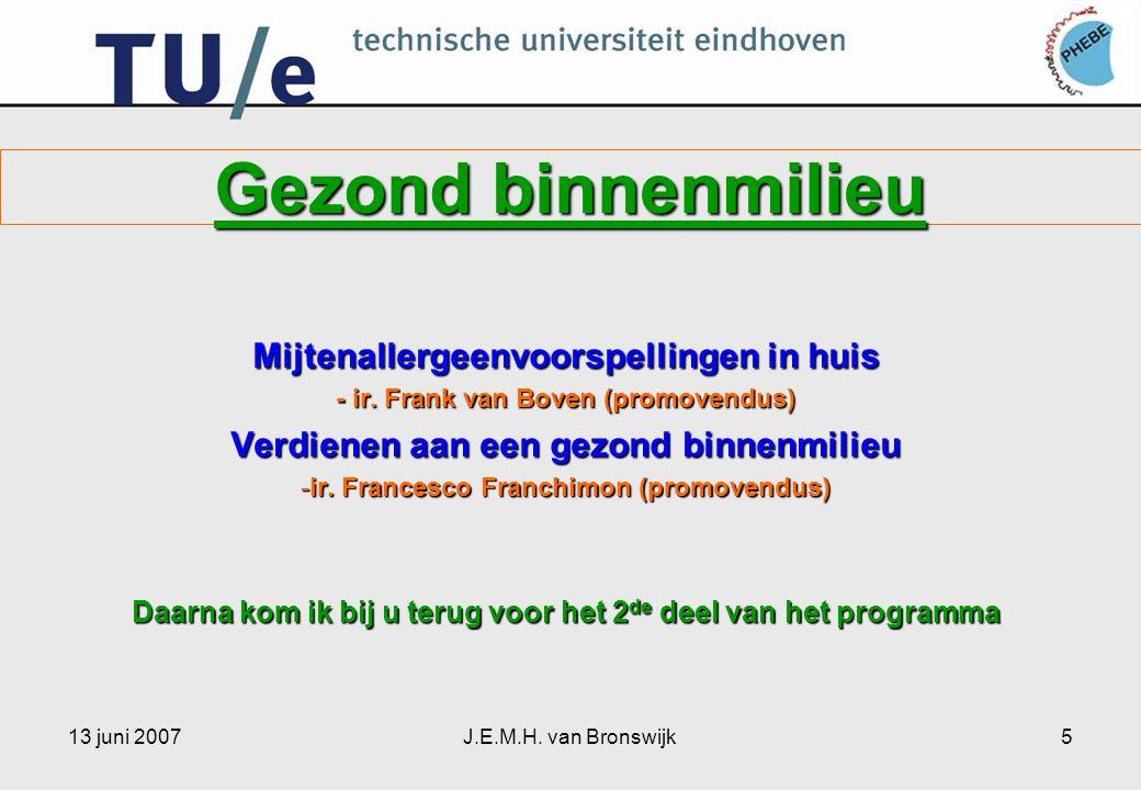 13 juni 2007J.E.M.H. van Bronswijk5 Gezond binnenmilieu Mijtenallergeenvoorspellingen in huis - ir.