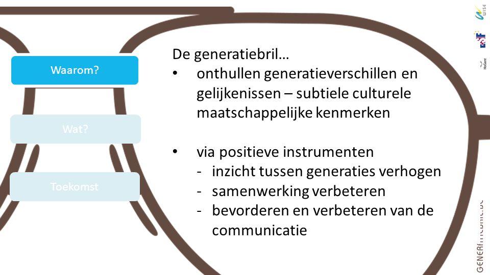 De generatiebril… onthullen generatieverschillen en gelijkenissen – subtiele culturele maatschappelijke kenmerken via positieve instrumenten -inzicht