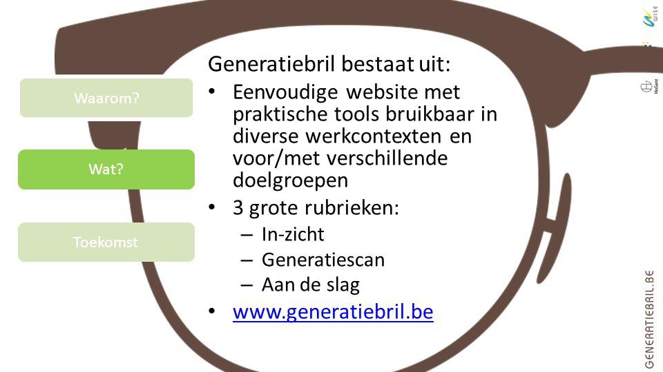 Wat? Toekomst Waarom? Generatiebril bestaat uit: Eenvoudige website met praktische tools bruikbaar in diverse werkcontexten en voor/met verschillende