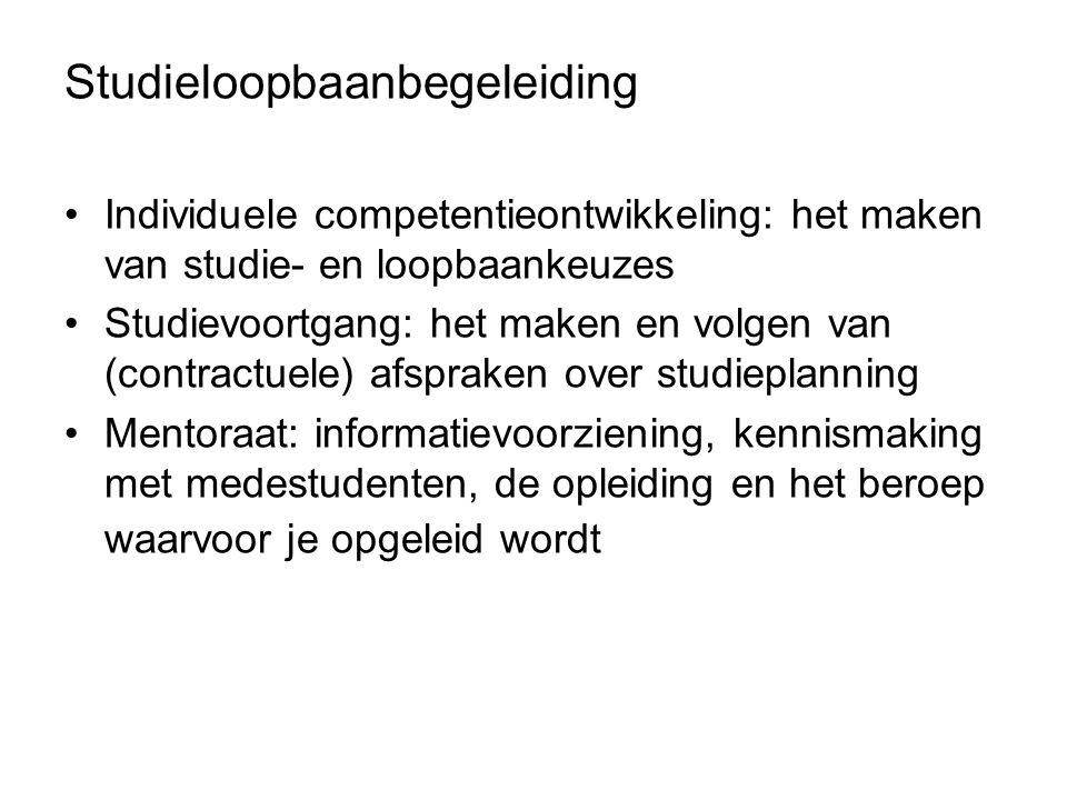 Studieloopbaanbegeleiding Individuele competentieontwikkeling: het maken van studie- en loopbaankeuzes Studievoortgang: het maken en volgen van (contr