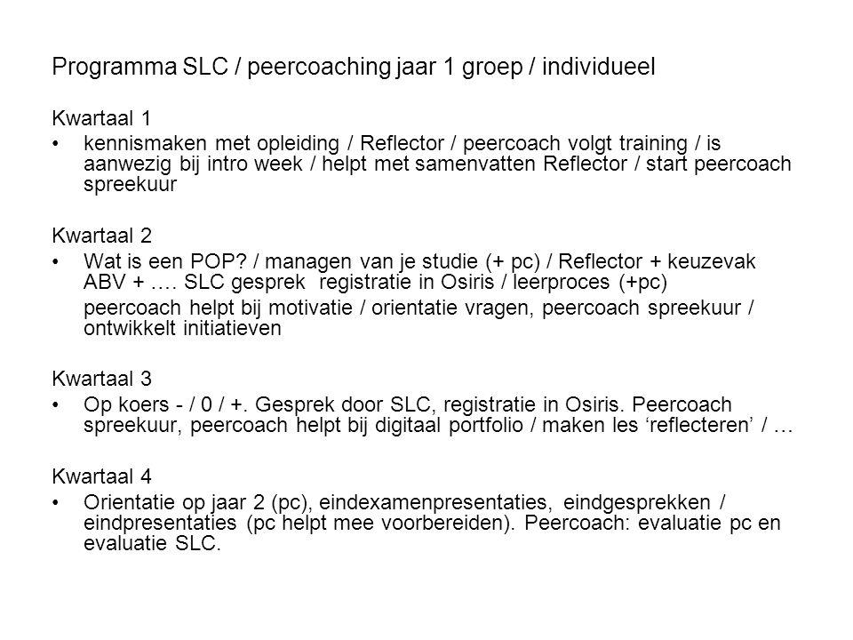 Programma SLC / peercoaching jaar 1 groep / individueel Kwartaal 1 kennismaken met opleiding / Reflector / peercoach volgt training / is aanwezig bij