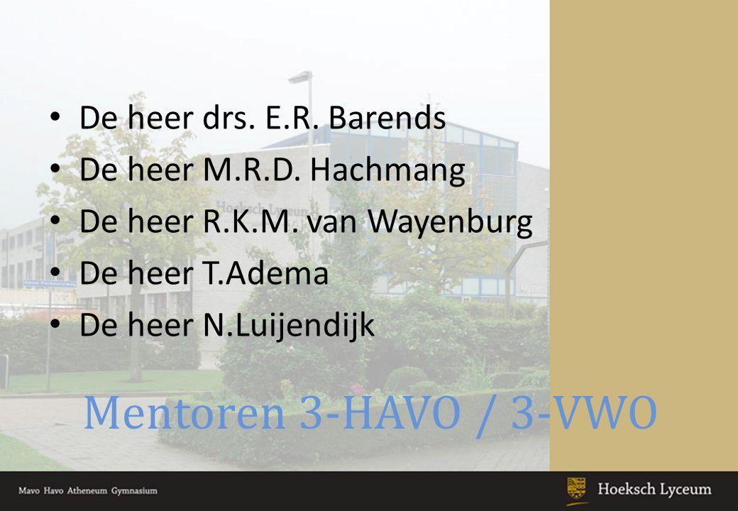 Mentoren 3-HAVO / 3-VWO De heer drs.E.R. Barends De heer M.R.D.