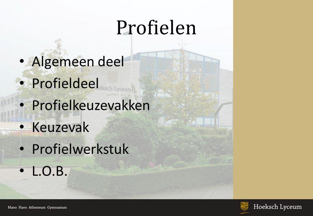 Profielen Algemeen deel Profieldeel Profielkeuzevakken Keuzevak Profielwerkstuk L.O.B.