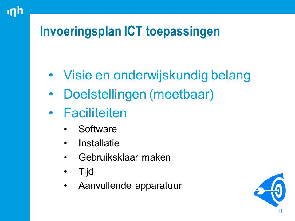 Invoeringsplan ICT toepassingen 11 Visie en onderwijskundig belang Doelstellingen (meetbaar) Faciliteiten Software Installatie Gebruiksklaar maken Tijd Aanvullende apparatuur