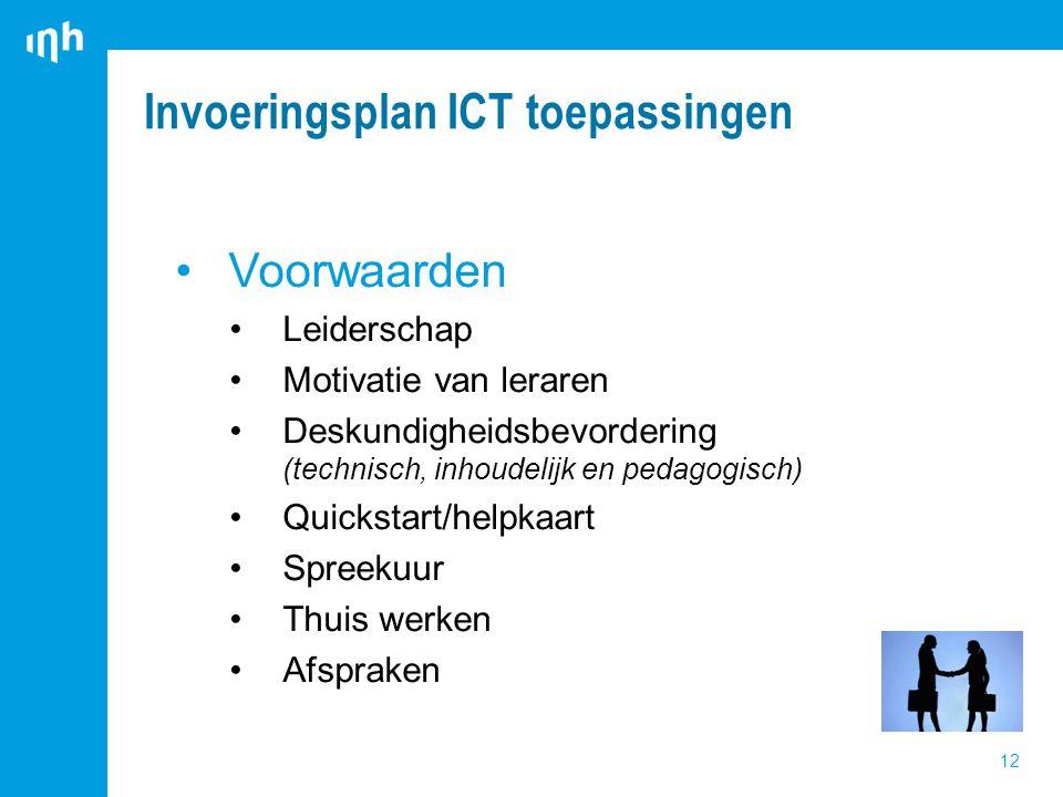 Invoeringsplan ICT toepassingen 12 Voorwaarden Leiderschap Motivatie van leraren Deskundigheidsbevordering (technisch, inhoudelijk en pedagogisch) Quickstart/helpkaart Spreekuur Thuis werken Afspraken