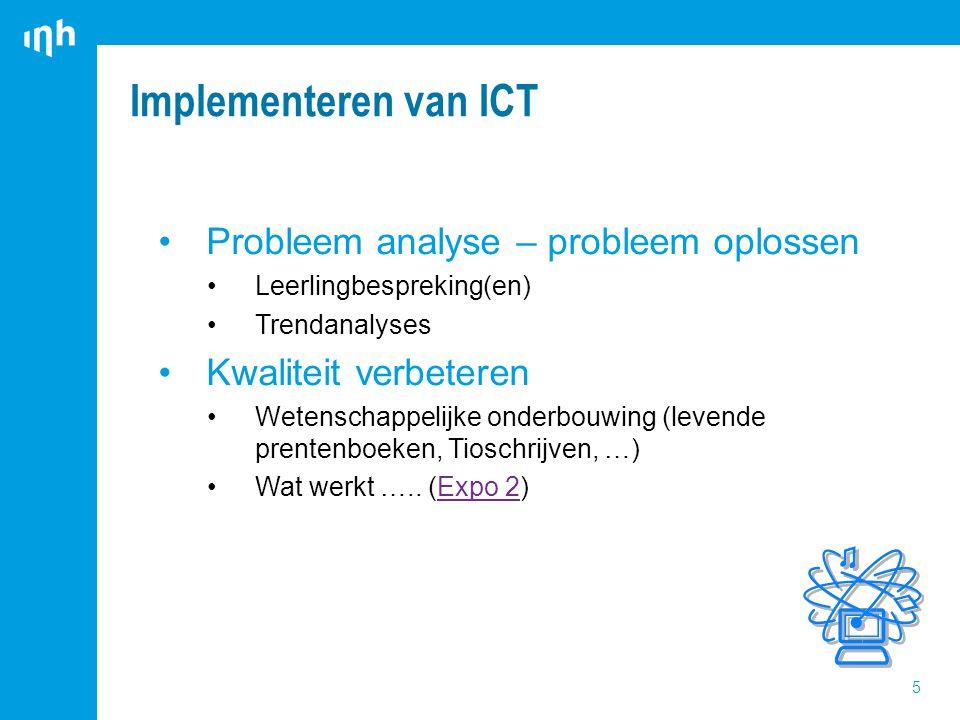 Implementeren van ICT 5 Probleem analyse – probleem oplossen Leerlingbespreking(en) Trendanalyses Kwaliteit verbeteren Wetenschappelijke onderbouwing (levende prentenboeken, Tioschrijven, …) Wat werkt …..