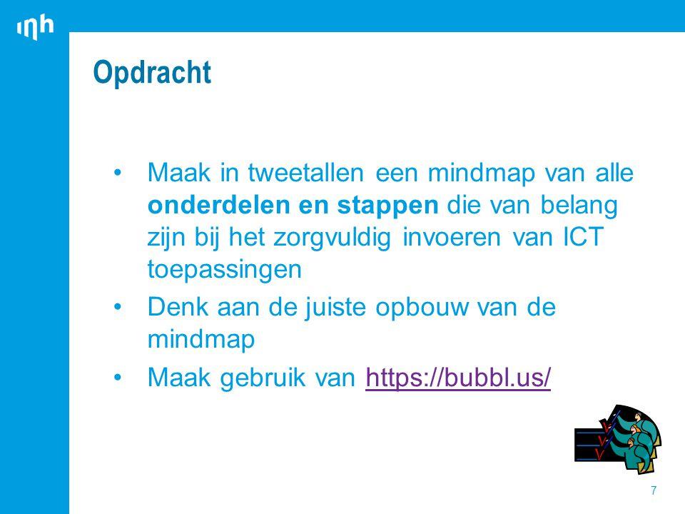 Opdracht 7 Maak in tweetallen een mindmap van alle onderdelen en stappen die van belang zijn bij het zorgvuldig invoeren van ICT toepassingen Denk aan de juiste opbouw van de mindmap Maak gebruik van https://bubbl.us/https://bubbl.us/