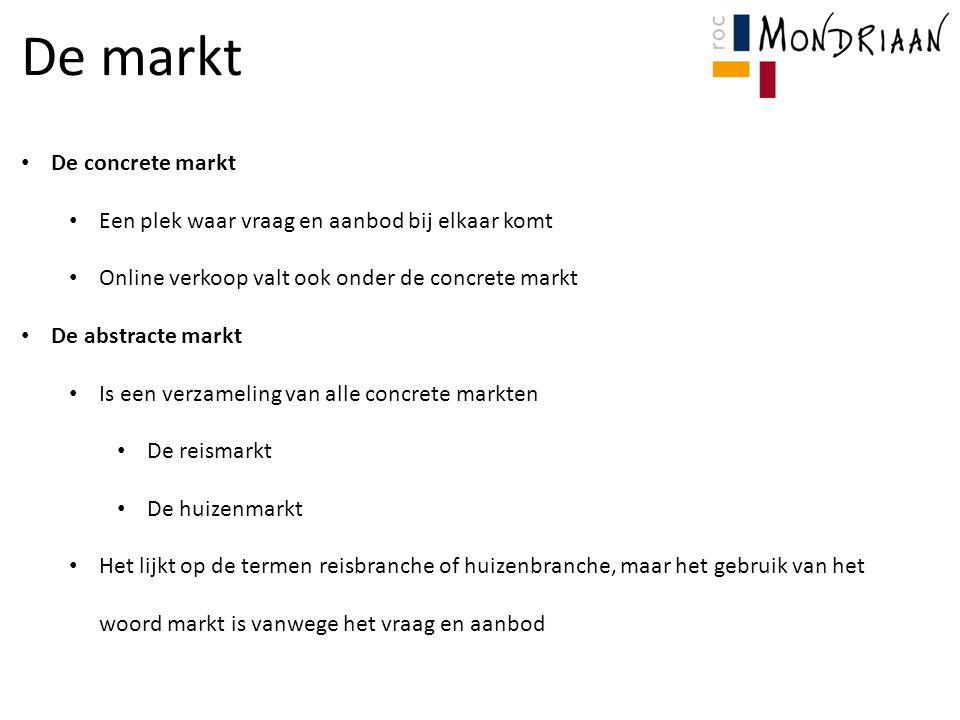 De markt De concrete markt Een plek waar vraag en aanbod bij elkaar komt Online verkoop valt ook onder de concrete markt De abstracte markt Is een ver