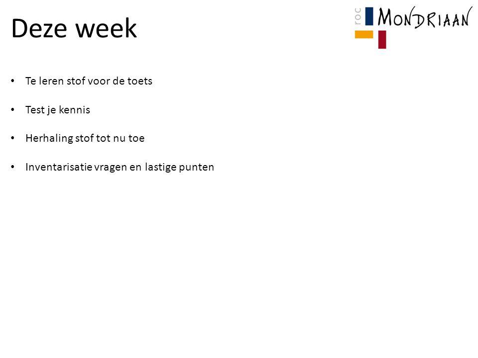 Deze week Te leren stof voor de toets Test je kennis Herhaling stof tot nu toe Inventarisatie vragen en lastige punten