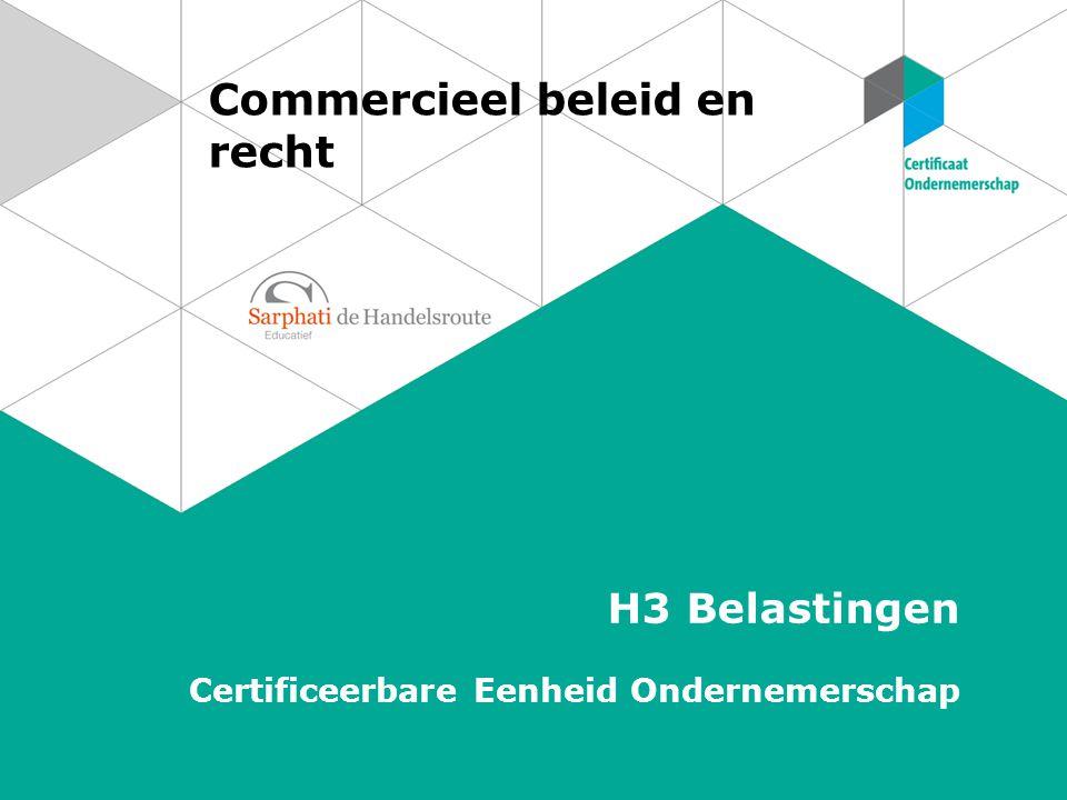 Commercieel beleid en recht H3 Belastingen Certificeerbare Eenheid Ondernemerschap