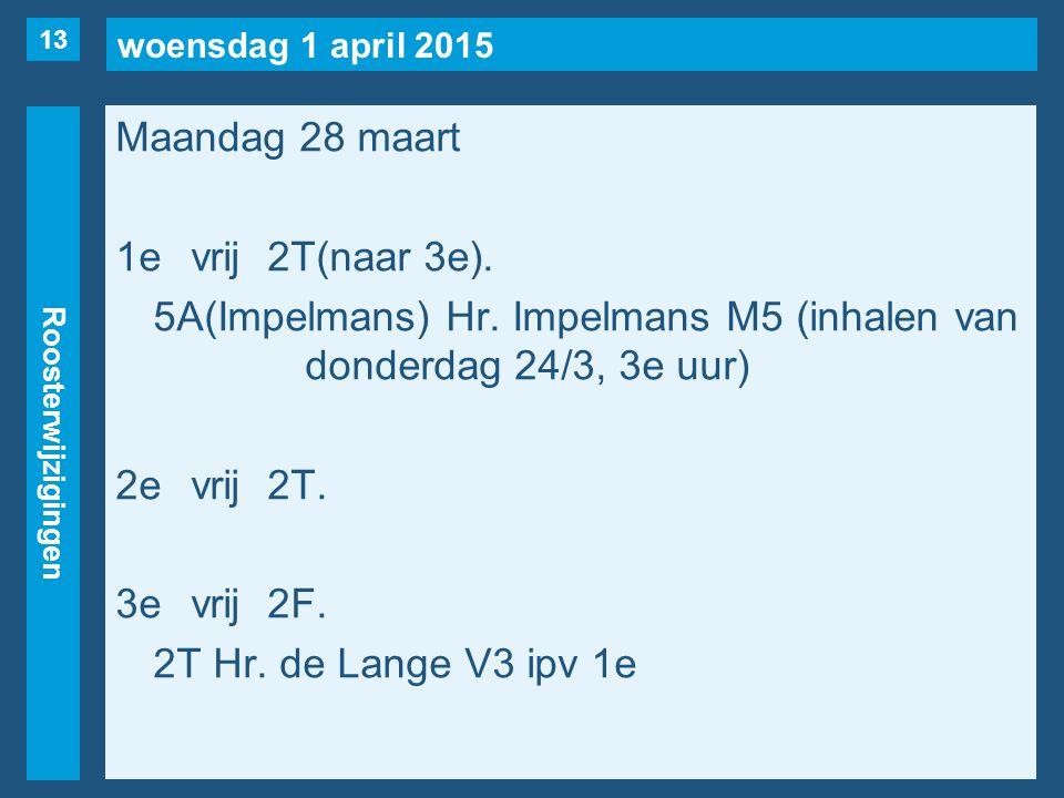 woensdag 1 april 2015 Roosterwijzigingen Maandag 28 maart 1evrij2T(naar 3e). 5A(Impelmans) Hr. Impelmans M5 (inhalen van donderdag 24/3, 3e uur) 2evri