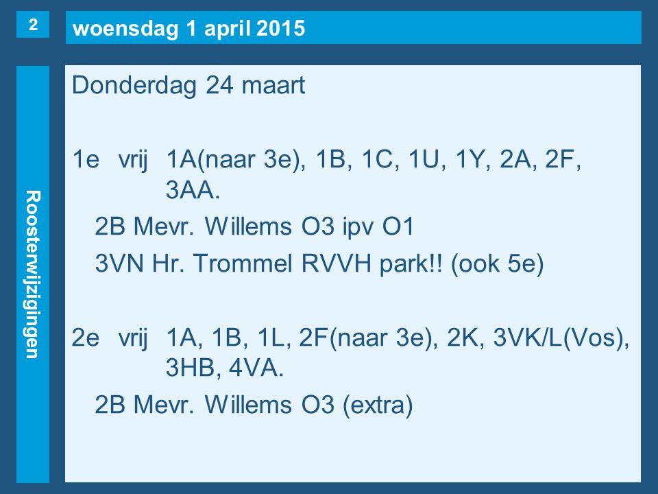 woensdag 1 april 2015 Roosterwijzigingen Donderdag 24 maart 1evrij1A(naar 3e), 1B, 1C, 1U, 1Y, 2A, 2F, 3AA. 2B Mevr. Willems O3 ipv O1 3VN Hr. Trommel