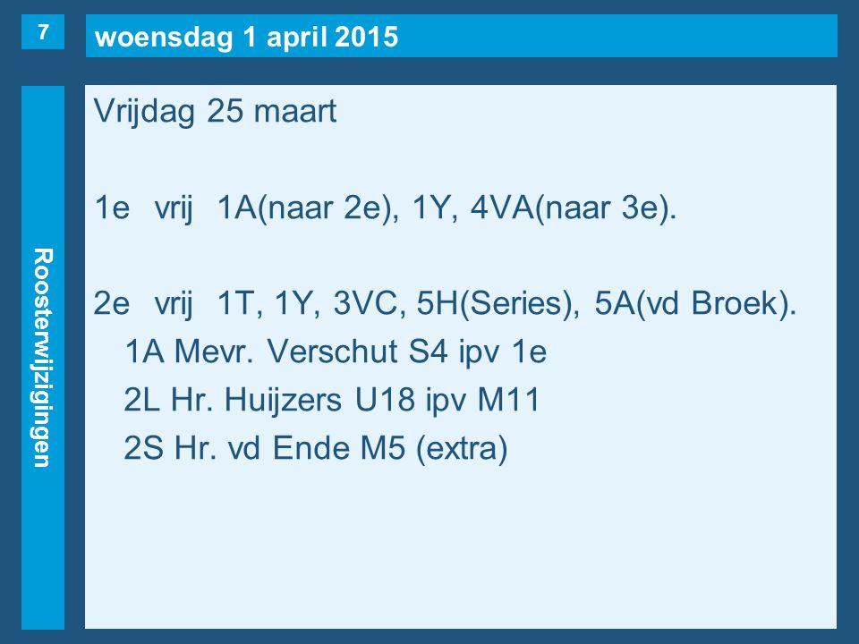 woensdag 1 april 2015 Roosterwijzigingen Vrijdag 25 maart 1evrij1A(naar 2e), 1Y, 4VA(naar 3e). 2evrij1T, 1Y, 3VC, 5H(Series), 5A(vd Broek). 1A Mevr. V