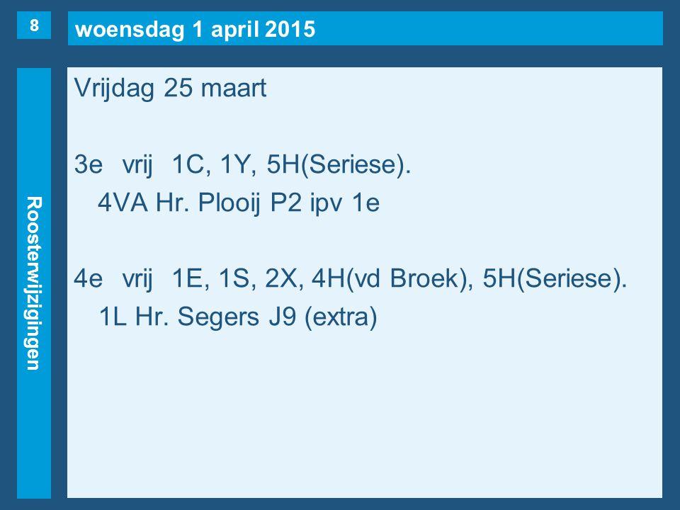 woensdag 1 april 2015 Roosterwijzigingen Vrijdag 25 maart 3evrij1C, 1Y, 5H(Seriese). 4VA Hr. Plooij P2 ipv 1e 4evrij1E, 1S, 2X, 4H(vd Broek), 5H(Serie