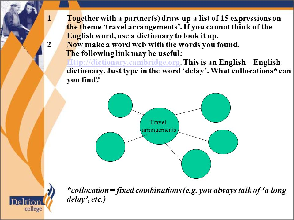 1Together with a partner(s) draw up a list of 15 expressions on the theme 'travel arrangements'.